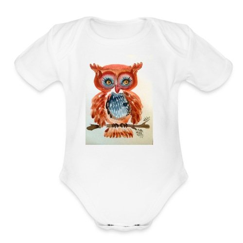 Ruby Woot Owl - Organic Short Sleeve Baby Bodysuit
