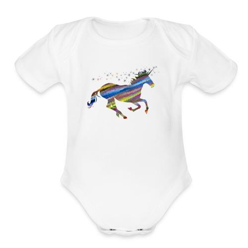 The Majestic Prismatic Streaked Magical Unicorn - Organic Short Sleeve Baby Bodysuit