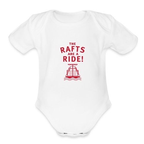 Traveling With The Mouse: Rafts Are A Ride (RED) - Organic Short Sleeve Baby Bodysuit