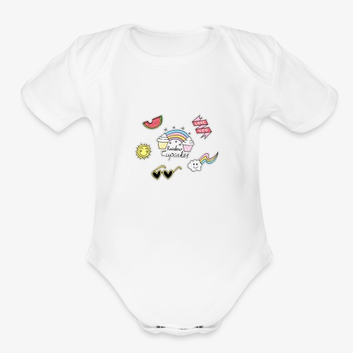 nice love logo - Organic Short Sleeve Baby Bodysuit