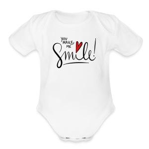 You make me smile Front - Short Sleeve Baby Bodysuit