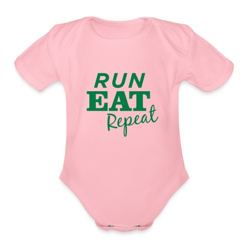 Run Eat Repeat buttons medium - Organic Short Sleeve Baby Bodysuit