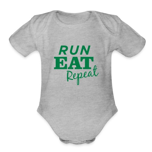 Run Eat Repeat buttons medium - Organic Short Sleeve Baby Bodysuit