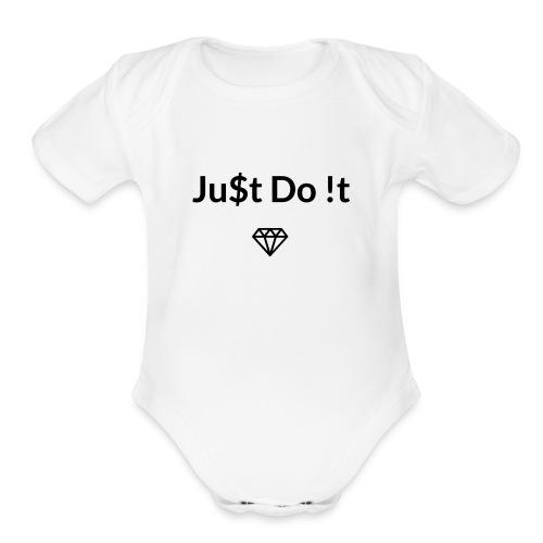Ju$t Do !t logo - Organic Short Sleeve Baby Bodysuit