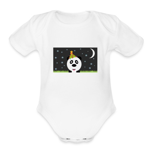 Panda Christmas - Organic Short Sleeve Baby Bodysuit