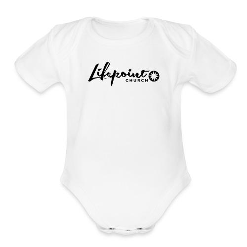 Logo Horizontal Black - Organic Short Sleeve Baby Bodysuit