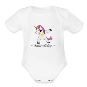 dabbing unicorn - Short Sleeve Baby Bodysuit