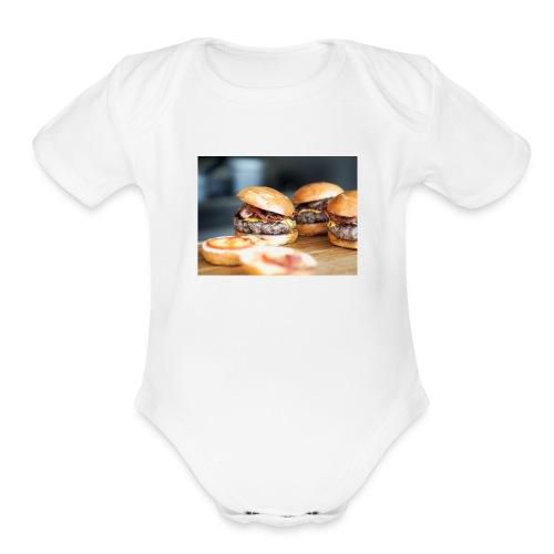 burger2 - Organic Short Sleeve Baby Bodysuit