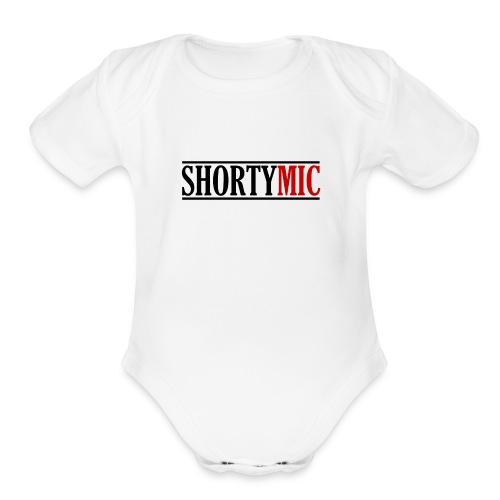 Shorty Mic - Logo - Black & Red - Organic Short Sleeve Baby Bodysuit