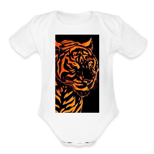 Fire tiger - Organic Short Sleeve Baby Bodysuit