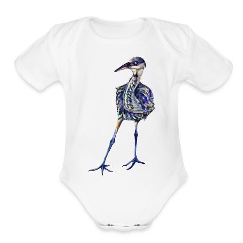 Blue heron - Organic Short Sleeve Baby Bodysuit