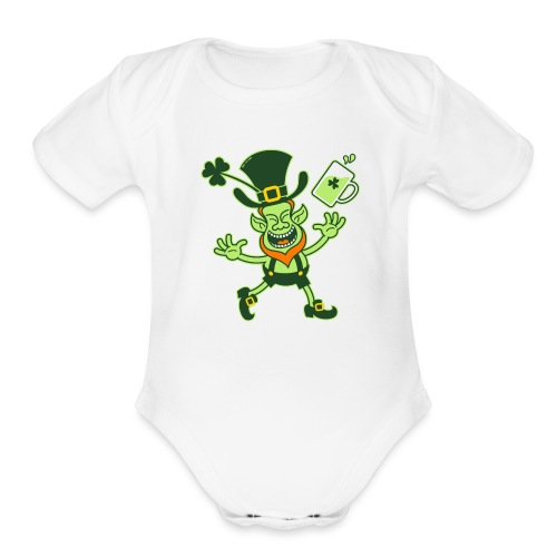 Euphoric Leprechaun Celebrating St Patrick's Day - Organic Short Sleeve Baby Bodysuit