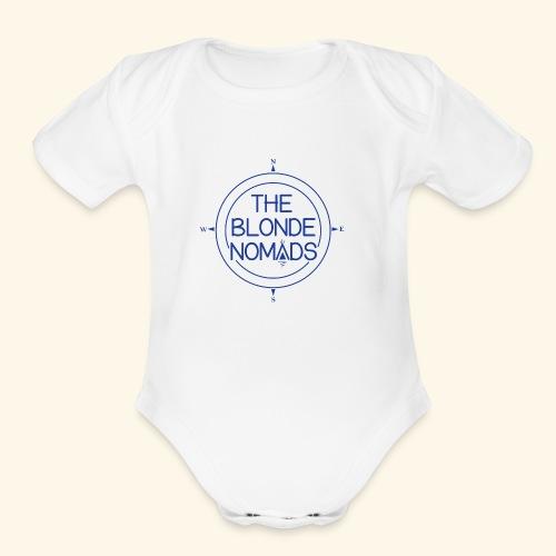 The Blonde Nomads Blue Logo - Organic Short Sleeve Baby Bodysuit