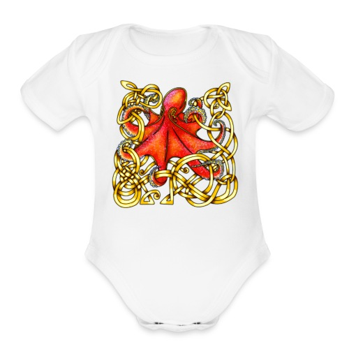 Octopus - Red & Gold - Organic Short Sleeve Baby Bodysuit