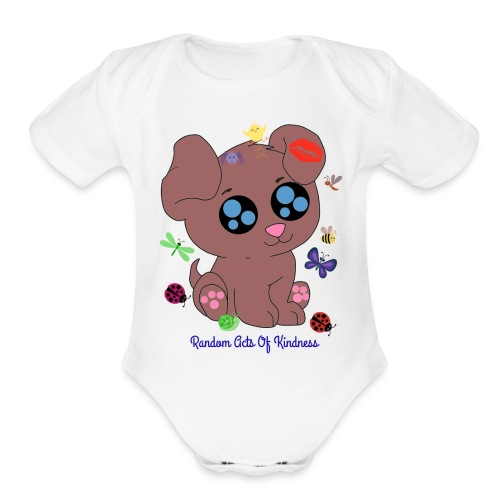 Rose Brown puppy shirt - Organic Short Sleeve Baby Bodysuit