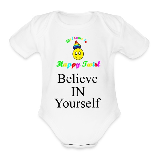 HTS Believe in Yourself Highlighted Logo - Organic Short Sleeve Baby Bodysuit