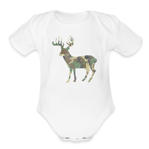 Distressed Camo Deer Silhouette T-Shirt - Organic Short Sleeve Baby Bodysuit