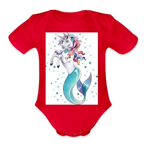unicorn mermaid - Organic Short Sleeve Baby Bodysuit