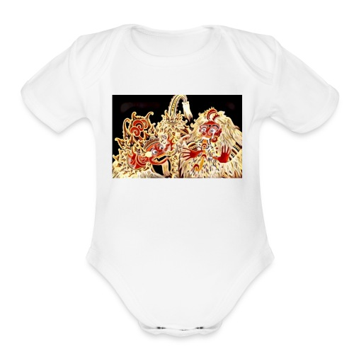 Bali Barong lion - Organic Short Sleeve Baby Bodysuit