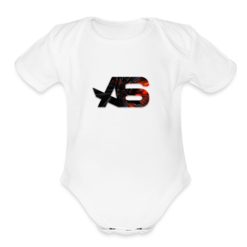 Official A6 Logo Black And Red - Organic Short Sleeve Baby Bodysuit