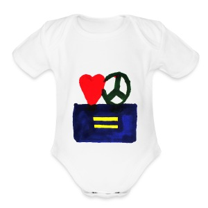 Peace, Love and Equality - Short Sleeve Baby Bodysuit