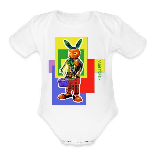 smARTkids - Slammin' Rabbit - Organic Short Sleeve Baby Bodysuit