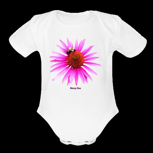 Bee on a pink - orange flower - Organic Short Sleeve Baby Bodysuit
