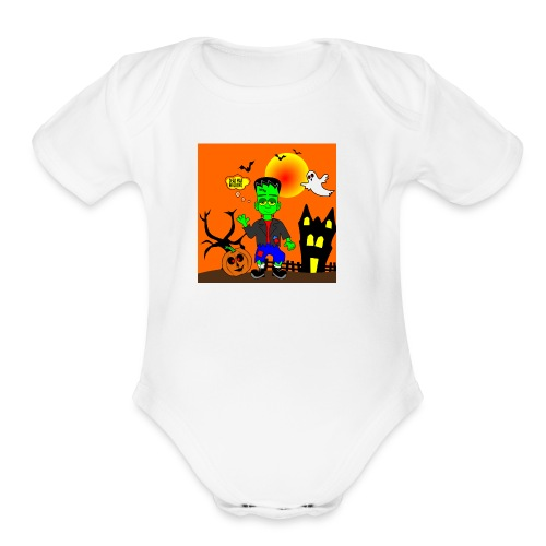 Halloween Frankenstein s Monster - Organic Short Sleeve Baby Bodysuit
