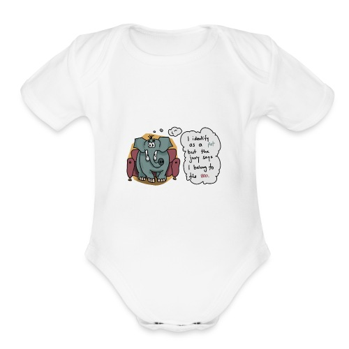 Elephant sitting on a couch - Organic Short Sleeve Baby Bodysuit
