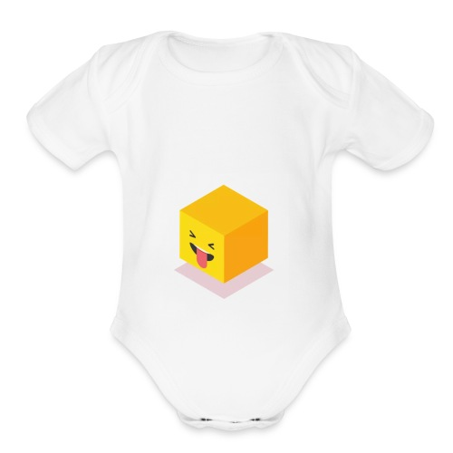 Silly Cube Face - Organic Short Sleeve Baby Bodysuit