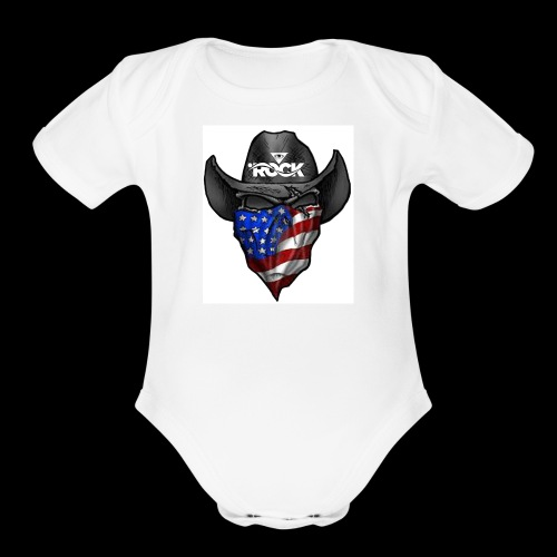 Eye rock cowboy Design - Organic Short Sleeve Baby Bodysuit
