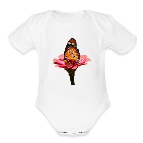 Monarch Butterfly on Flower - Organic Short Sleeve Baby Bodysuit
