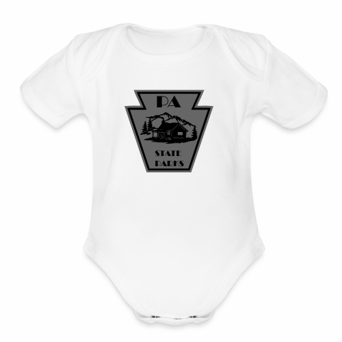Keystone with Cabin Black and Grey - Organic Short Sleeve Baby Bodysuit