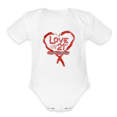 Down Syndrome Love (Red) - Organic Short Sleeve Baby Bodysuit