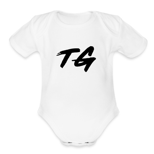 Black and White Lettering - Organic Short Sleeve Baby Bodysuit
