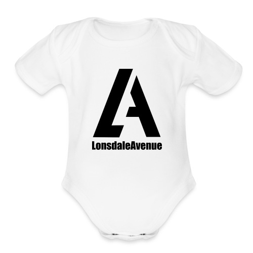 Lonsdale Avenue Logo Black Text - Organic Short Sleeve Baby Bodysuit