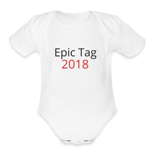 Epic Tag Word Logo - Organic Short Sleeve Baby Bodysuit