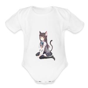 Anime Cat Lady - Short Sleeve Baby Bodysuit