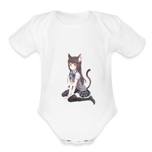 Anime Cat Lady - Organic Short Sleeve Baby Bodysuit