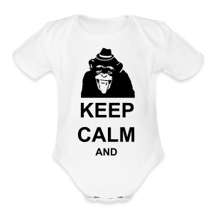 KEEP CALM MONKEY CUSTOM TEXT - Short Sleeve Baby Bodysuit