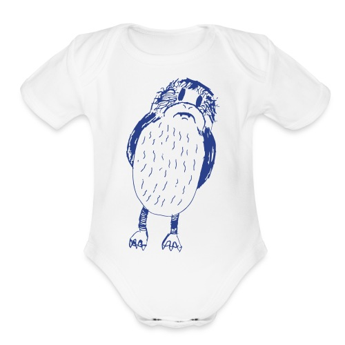 Stephen's hand drawn porg - Organic Short Sleeve Baby Bodysuit