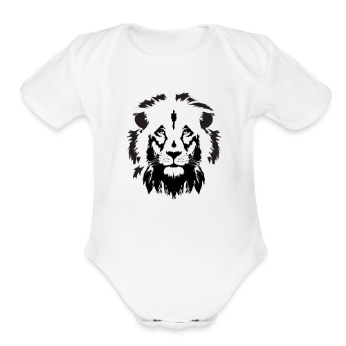 Lion head - Organic Short Sleeve Baby Bodysuit