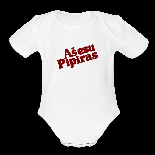 Dr. Pipiras Red Text - Organic Short Sleeve Baby Bodysuit