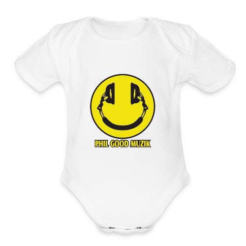 PHIL GOOD MUZIK HAPPY HEADPHONES - Organic Short Sleeve Baby Bodysuit
