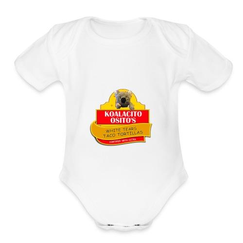 Koalacito Osito's White Tears Taco Tortillas - Organic Short Sleeve Baby Bodysuit