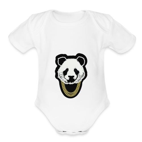 panda3.1 - Organic Short Sleeve Baby Bodysuit