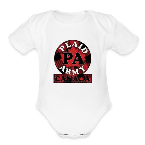 Plaid Army Canada - Organic Short Sleeve Baby Bodysuit