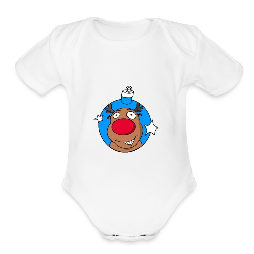 reindeer bauble reflect blue - Organic Short Sleeve Baby Bodysuit