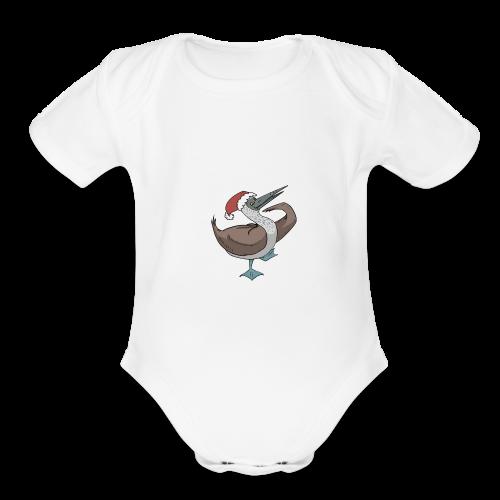 Boobie Bird Xmas Dance - Organic Short Sleeve Baby Bodysuit