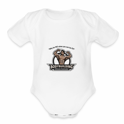 Ultimate Dominator Fitness Logo - Organic Short Sleeve Baby Bodysuit